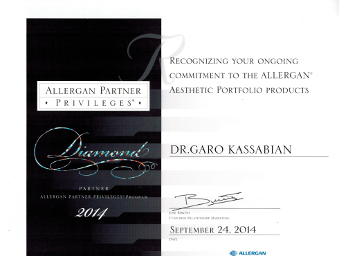 The Diamond Status Award from Allergan.